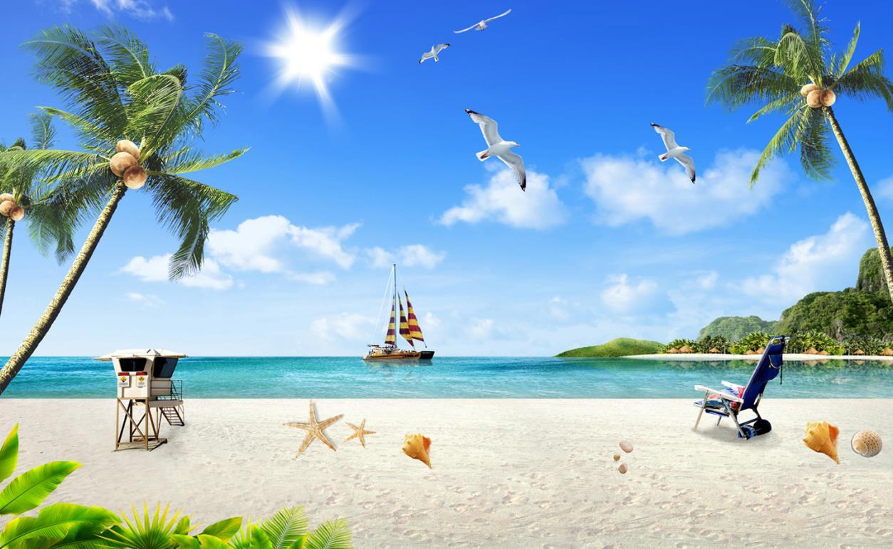 现代海边风景白鸽椰树海滩蓝天白云背景墙