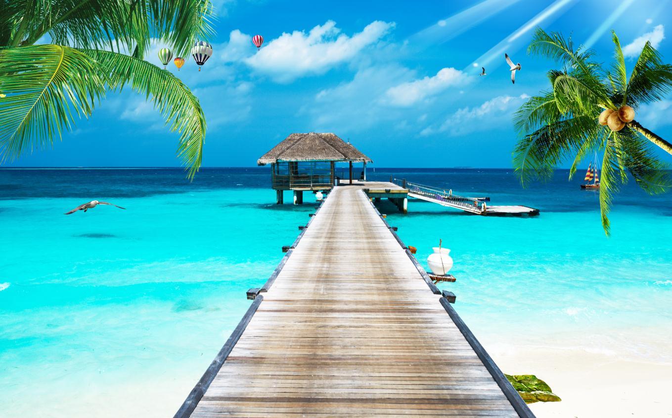 现代3d立体海边风景海滩风景椰树蓝天白云天空背景墙