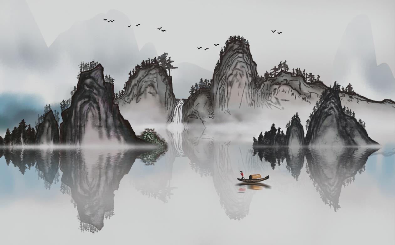 新中式意境水墨黑白山水