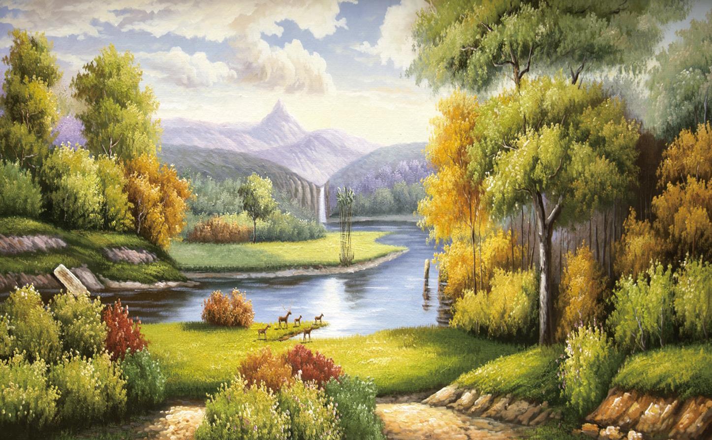 美式油画风景背景