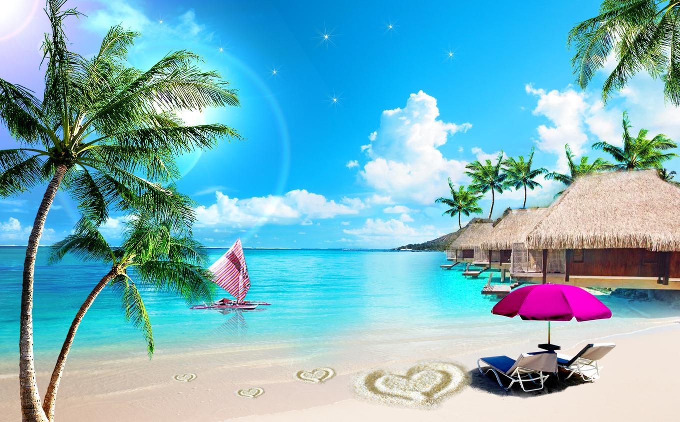 蓝天白云沙滩大海风景